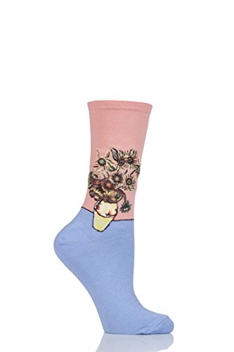 Damen 1 Paar HotSox Artist Collection Sonnenblumen Baumwollsocken Pfirsich 37/42