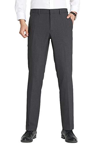 TALITARE Pantalones de Traje Hombre, Slim Fit, Pantalones de Esmoquin Elástico y Elegante, Gris Oscuro, 32W X 30L