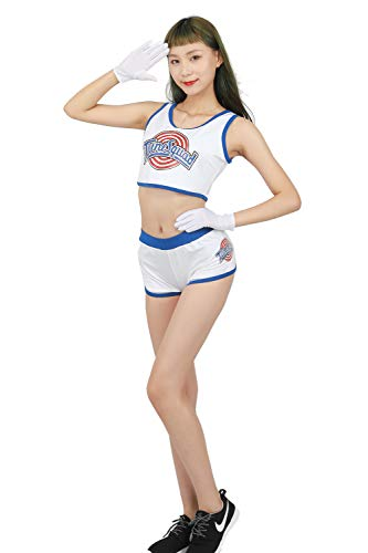 xcoser Damen Lola Bunny Basketball-Trikot, hübsches Tanktop & Shorts & Handschuhe - Weiß - Large