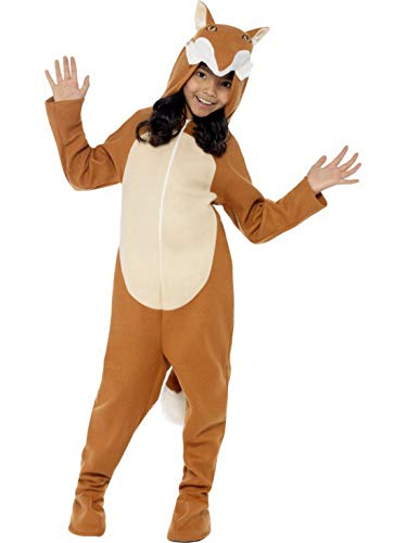 Kostüm Jungen Fox - Luxuspiraten - Kinder Jungen Mädchen Kostüm Plüsch Fuchs Fox Fell Einteiler Onesie Overall Jumpsuit, perfekt für Karneval, Fasching und Fastnacht, 122-134, Braun
