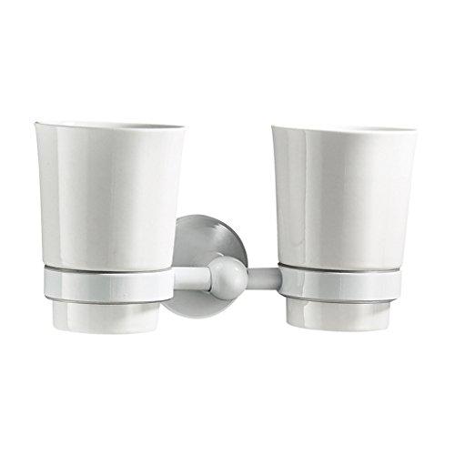 LOVIVER Ceramics Tooth Mug Zahnglas Mit Messing Rack Halter An Der Wand Montiert - Zwei Tassen - Messing Becher Und Racks