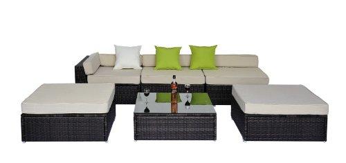 Yopih Set di poltrone ad angolo da esterno, mobili di lusso in vimini e rattan, telaio in alluminio, per serra, giardino e patio, 6