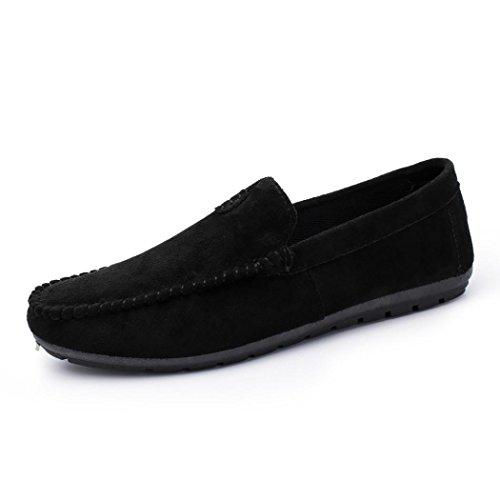 Ansenesna Herren Sneaker Sommer Vintage Flach Ohne Schnürung Freizeitschuhe Männer Textil Zum Schlüpfen Schuhe Braun Schwarz Grau (39, Schwarz)
