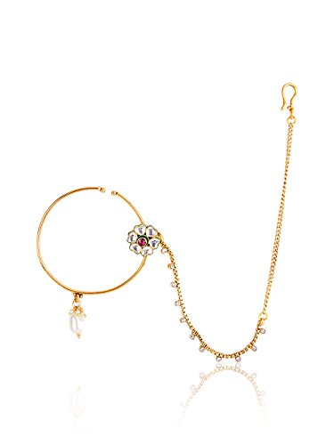 FIROZA Golden Alloy Nose Pin For Women