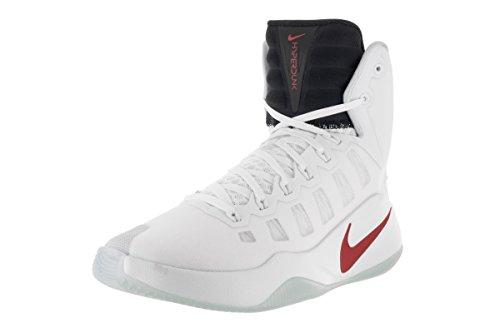 Nike Hyperdunk 2016, Chaussures de Sport-Basketball Homme Blanco (White / Bright Crimson-Dark Obsidian)