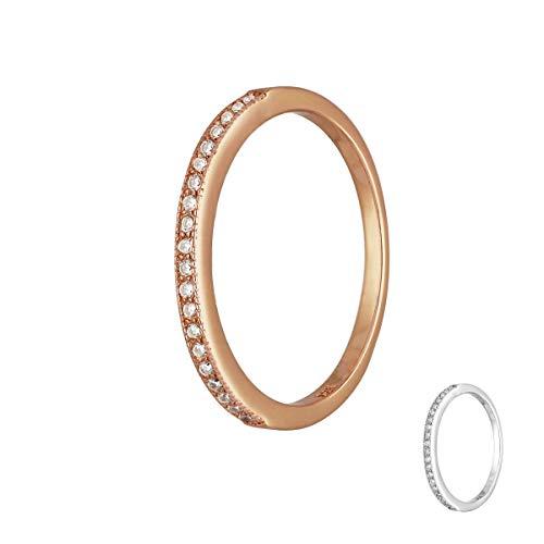 Treuheld   925 Sterling Silber Ring mit KRISTALLEN - Silber & Rose-Gold - Strass Damen-Ring - Schmuck mit Zirkonia-Steinen in 8 Größen: 48, 50, 52, 54, 56, 58, 60, 62 - Hochzeitsring - Rosegold 58