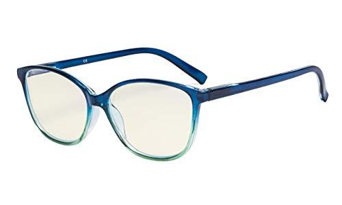 Eyekepper Damen Computer Brille-UV420-Schutzbrille-Blaulichtfilter-Lesebrille-Modisch Große Katzenauge style-Damen Lesebrille-Tief Blau Arm +3.00