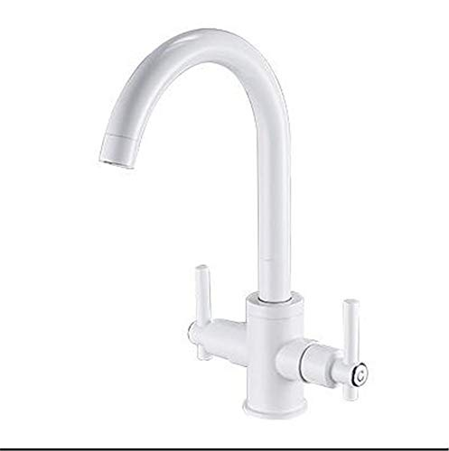 Wasserhahn Doppel Offene Doppel Backlack Weiß Messing Küche Spülbecken Spüle Schüssel Heißes Und Kaltes Wasser Wasserhahn.