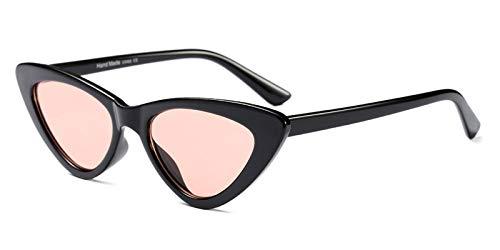 CQYYDD Black Cat Eye Sonnenbrille Uv400 Damen Markendesigner White Red Sonnenbrille für Damen Retro wie im Foto Gezeigt, klares Rosa