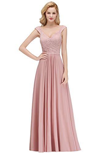 Damen Spitzen A-Linie Cocktailkleid Chiffon Festkleid Maxikleid Applique Rückenfrei lang Rosa 42