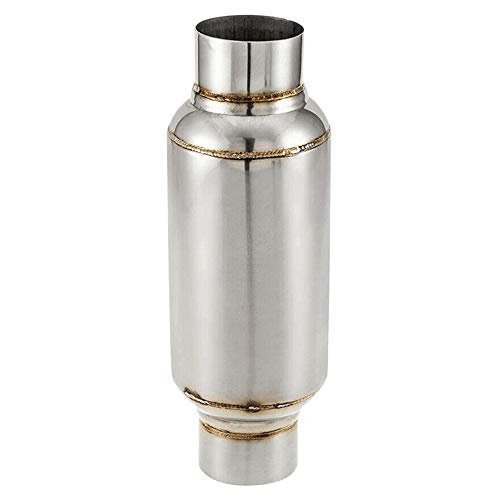 SODIAL Entrada de 2.5 Pulgadas Resonador Universal/Silenciador de Rendimiento Acero Inoxidable 11.5 Pulgadas