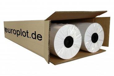 (0,21€/m²) Plotterpapier 2 Rollen | 80g/m², 61,0cm (610mm) breit, 150m lang, CAD, A0 ungestrichen