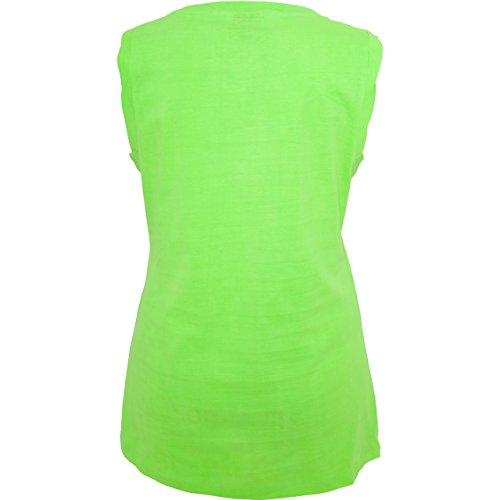 Comic Shirts - Pegasus - ärmelloses Damen T-Shirt mit Brusttasche Neon Grün
