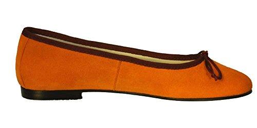 Ballerinas Delhi Wildleder Orange klassische Ballerinas aus Spanien Orange/Aubergine