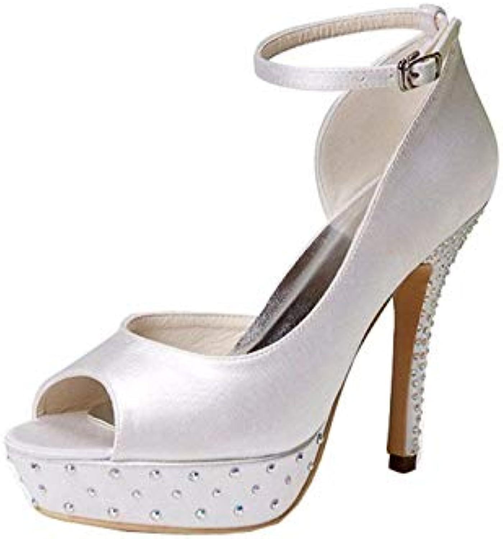 Qiusa GYMZ635 donna Open Toe Tacco a Spillo Raso Sandalo da Sposa Cinturino alla Caviglia Scarpe Sandalo (Coloreee... | Qualità Eccellente  | Scolaro/Signora Scarpa