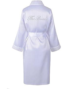 Sacchettino in wedding day Rhinestone satin The Bride, accappatoio con diamante accappatoio kimono