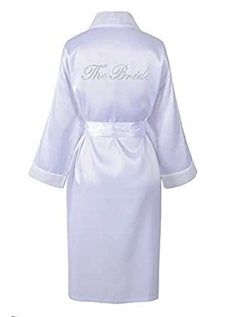 Matrimonio sposa strass, raso di accappatoio, vestaglia, personalizzato, Honeymoon bianco Small
