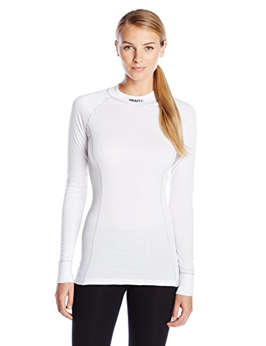 Craft Damen Active Extreme Base Layer Langarmshirt Fitness Workout Rundhalsausschnitt, Damen, weiß, Small - Smartwool Crew Shirt