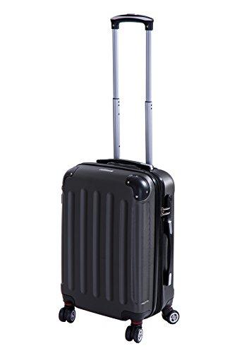 P-Collection Koffer Trolley Handgepäck Hartschale 4 Zwillingsrollen (Anthrazit Größe M)