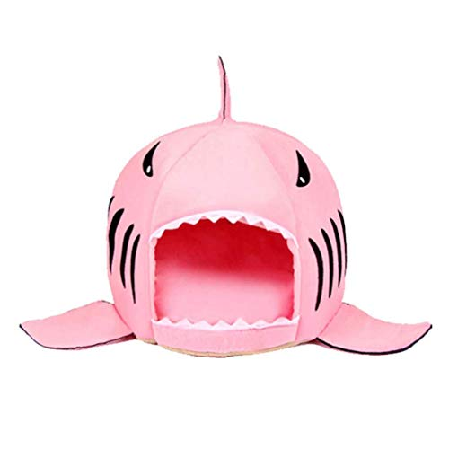 Bobopai Washable Shark Pet House Cave Bed for Small Medium Dog Cat with Removable Cushion (pink) -