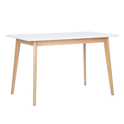 Tavolo da Pranzo Design Moderno Forma Rettangolare Superfice in MDF Gambe in Legno di Pino Dimensione 120 x 70 x 75 cm Colore Bianco