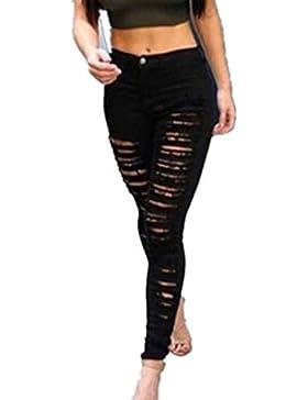 Damen Jeanshose Amlaiworld Damen Zerrissen Ripped Hose mit hohe Taille Stretch Skinny Bleistifthose Leggings