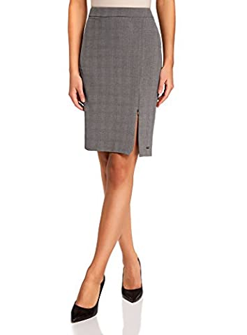 oodji Collection Women's Straight Skirt with Zipper Vent, Grey, UK