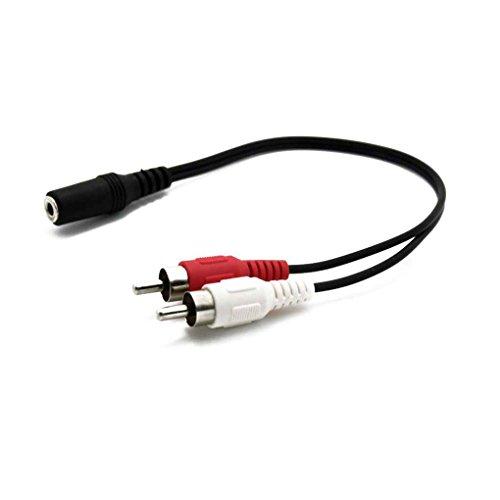 InisIE Universal-3,5-mm-Stereo-Klinke-Buchse auf 2 Cinch-Stecker-Adapter Audio Cinch-Kabel Verlängerungskabel