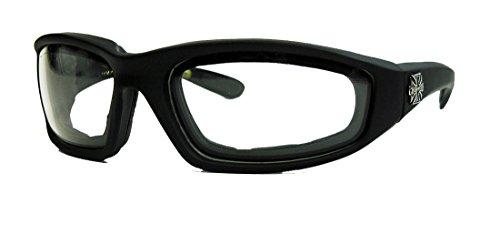 Choppers Sonnenbrille Biker Brille Motorradbrille Iron Cross Gogglesmatt schwarz FO (Crystal Clear)