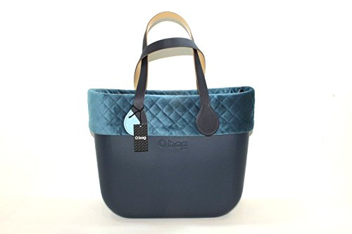 Borsa o bag grande blu con manico lungo bicolor blu e azzurro e sacca interna con bordo matelassè new collection (k)
