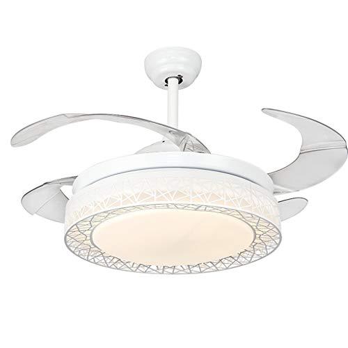 Style wei Lüfterlicht 42-Zoll-LED-Deckenventilator Wohnzimmer Invisible Bird's Nest Fan Lichter Moderne Kühlung Home Lighting Fan Lampen Leuchten (Color : White, Größe : 42 Inch) Pac Lighting Kit