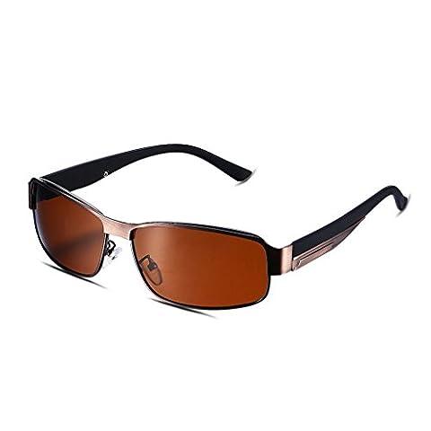 Hmilydyk Homme Sport Lunettes de soleil polarisées Nouveau Mode Tac lentille Armature en métal UV400Lunettes de conduite avec étui à lunettes, Brown Frame with Brown Lens