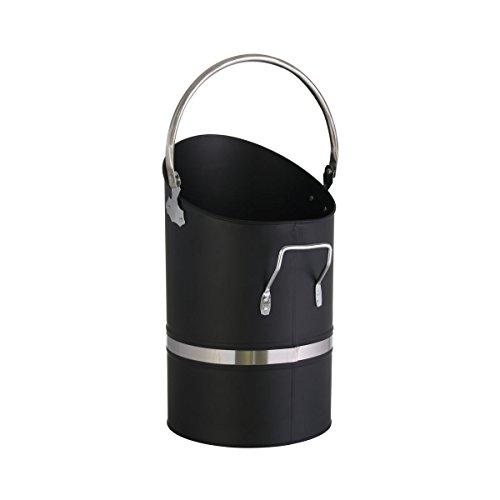 Kaminoflam Kohleneimer Eisen - Kohlenschütte schwarz mit Henkel & klappbarem Griff - Kohlenfüller rund - Pelletschütter für Kohle & Pellets