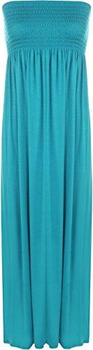 WearAll - Damen einfachen shirred bandeau trägerloses mit rüschen besetztes langes Maxi Kleid - Türkis - 40-42