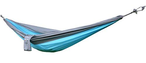 Sunland Ultra leichte tragbare Nylon-Fallschirm -Hängematte für Reisen, Camping, Wandern, Outdoor, Backpacking 200x300cm Blaugrau