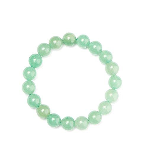 SUNNYCLUE Hecho a mano Gemstone elástico pulsera de perlas de auténtica Aventurina Verde Jade Unisex joyería