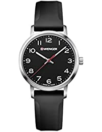 Wenger 01.1621.101 Women's Avenue Black Dial Black Silicone Strap Watch