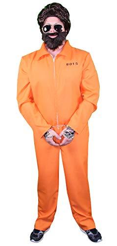 Foxxeo 40247I gefangener Gangster Boss Disfraz para Hombre I (Talla S, M, L, XL, XXL I Naranja Prisionero Disfraz sträfling häftling Drogas Baron Pablo