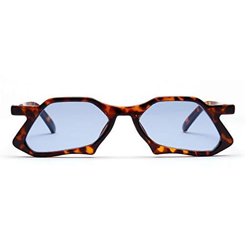 Sport-Sonnenbrillen, Vintage Sonnenbrillen, Vintage Polygon Sunglasses Men Clear Lens Blue Pink NEW Irregular Trendy Sun Glasses Women Uv 400 Leopard as show in photo leopard with blue