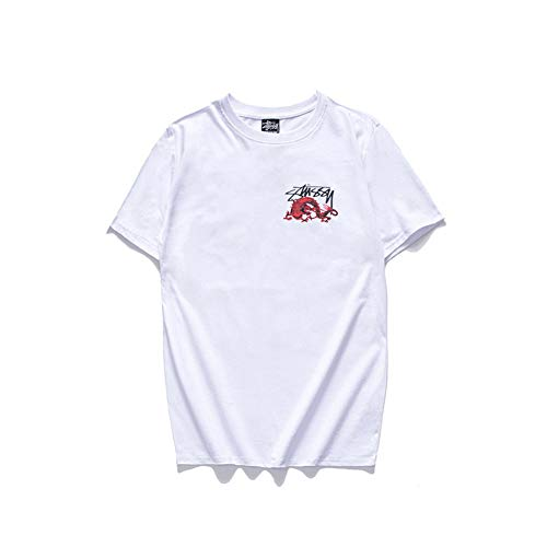 3cade101 coolpos New Short Sleeved Dragon King Casual Couple Short-Sleeved T Shirt  Men Women White
