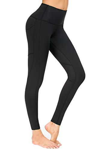 New Mincc Leggings Femme Pantalon de Sport Yoga Fitness Gym Courir Taille Haute Pilates avec Poches Opaque Large (Noir M)