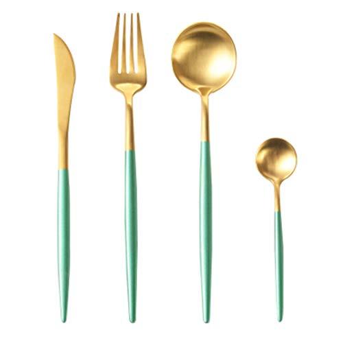 JIEHUSHI Blau Geschirr Set 304 Edelstahl Beschichtung Gold Silber Messer Gabeln Besteck-Sets Mint Green Gold (Koch Messer-set Rosa)