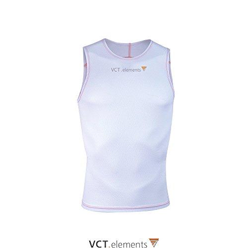 VCT Men's Undershirt atmungsaktiv schnelltrocknend isolierend Radsport Unterhemd für Herren (Weiß, XL)