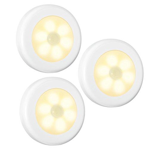 AMIR Nachtlicht mit Bewegungsmelder, LED Bewegungsmelder Licht, Auto ON/OFF Nachtlicht, Batterie-Powered Treppen Licht, Schrankleuchten, Schrank Lichter für Flur, Schlafzimmer, Küche (Warmes Weiß)