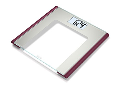 Beurer GS 170 Ruby Glaswaage | Extra dünne Personenwaage für moderne farbige Akzente in Ihrem Badezimmer