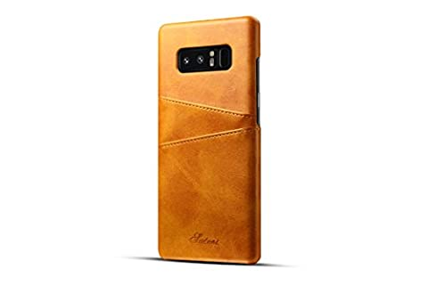 FQIAO Samsung Note 8 Hülle, PU Leder Schützende präzise Phone Back Cover Durable Cases Slim Fit mit zwei Card Slots Khaki für Samsung Note 8 2017 Release