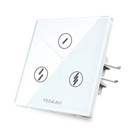 TEEKAR Touch Lichtschalter 3 Gang Alexa Lichtschalter WLAN WiFi Smart Intelligente Schalter Kompatibel Mit Google Home/IFTTT,Drahtlose Fernbedienung,Timing-Funktion -
