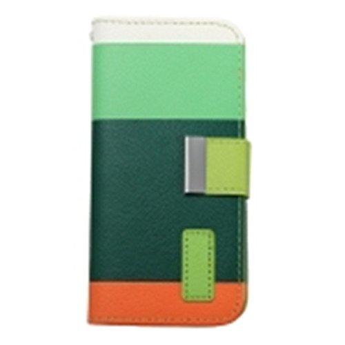 Case Cover Cartes Strap flip Wallet PU cuir Stand pour iPhone 6 jaune-noir-brun