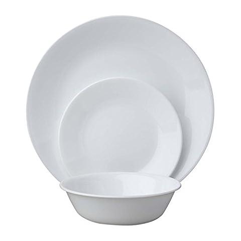 Corelle 18-Piece Vitrelle Glass Winter Frost White Chip and Break Resisitant Dinner Set, Service for