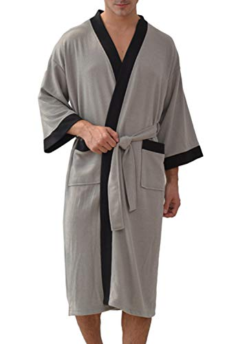Besweeton Albornoz Hombre Ducha Waffle Bata de Baño Kimono Ropa De Dormir Camisón Ligero De Encaje...